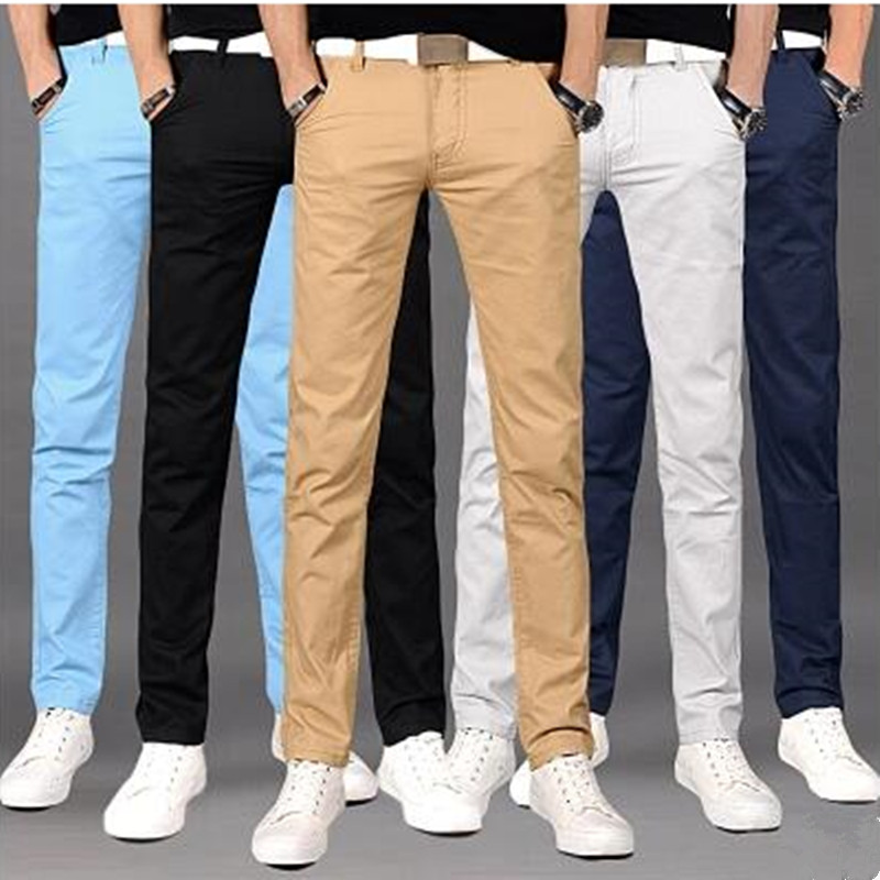 Hot!!!! 2017 Summer High Quality Pure Cotton Men's Casual Pants Youth Thin Straight Cultivate One's Morality Pants 7 Color