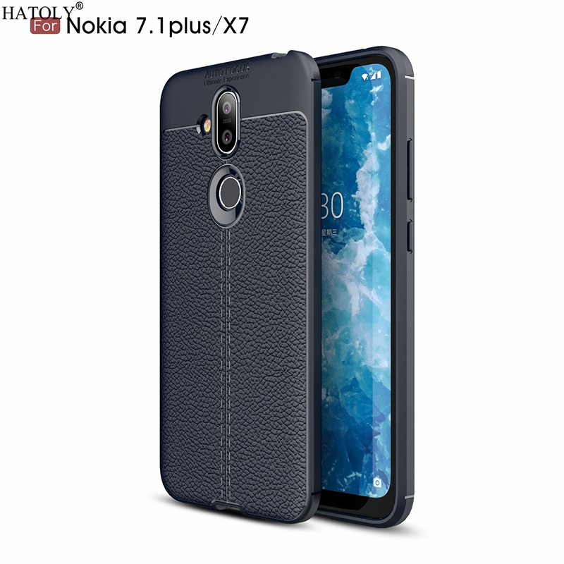 HATOLY Case For Nokia 8.1 Pattern PU Leather Soft TPU Silicone Back Cover Cases For Nokia 8.1/X7 Fundas for Nokia 8.1 TA-1119