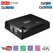 цена на MECOOL Amlogic S905D Android 7.1 Hybrid TV Box RAM 2gb DDR4 16gb ROM DVB-T2/DVB-S2/DVB-C double WIFI 2.4g/5g receptor satelite