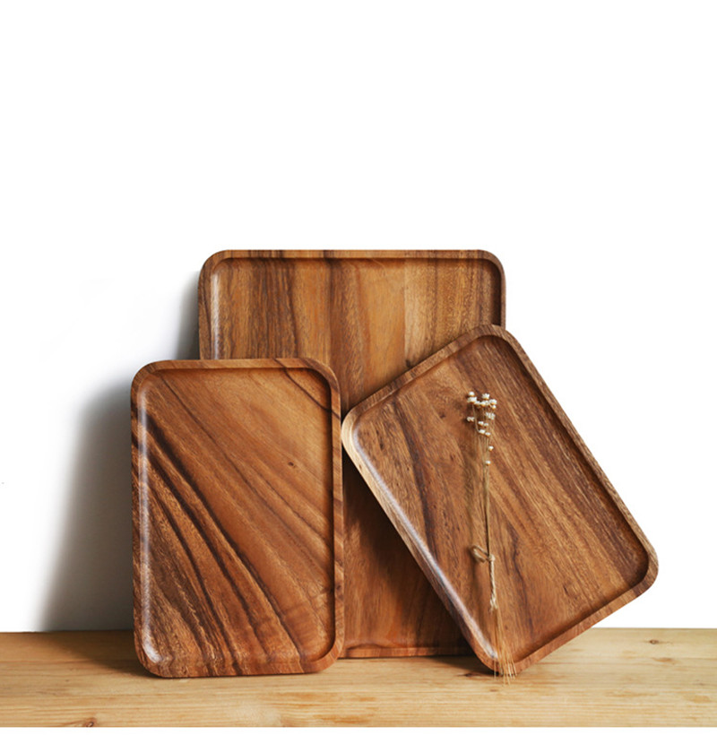 Solid Wood Storage Trays Pan Plate With Grab Groove Fruit Dishes Saucer Tea Tray Dessert Dinner Bread Pizza Wood Plate Tea tray