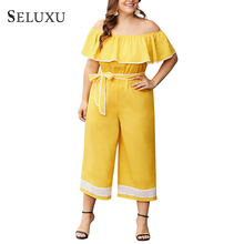 2eb8c1e1de2 Seluxu 2019 Plus Size Jumpsuits For Women Summer Cape Jumpsuits Off  shoulder Design Jumpsuits Rompers Womens
