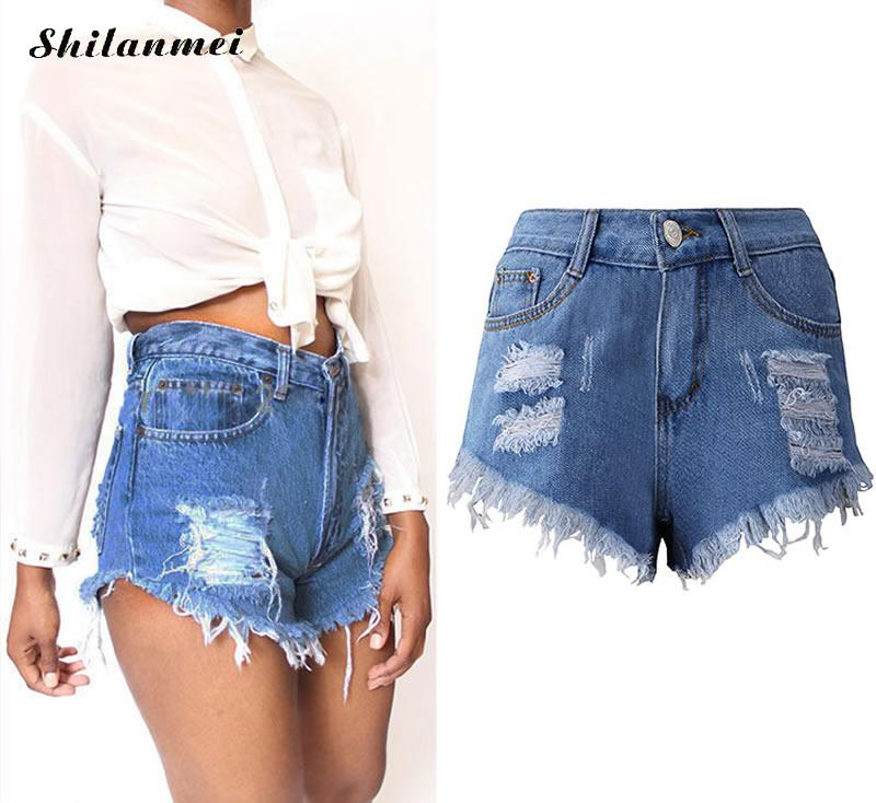 cotton denim high waist jeans shorts femme miracle tassel frayed short 3xl 2xl xl academia. Black Bedroom Furniture Sets. Home Design Ideas