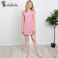 Vislivin New Cotton Women Soft Nightgown Sexy Pink Solid Sleepwear For Women Lady Soft Material Outside Wear Dress With Pockets
