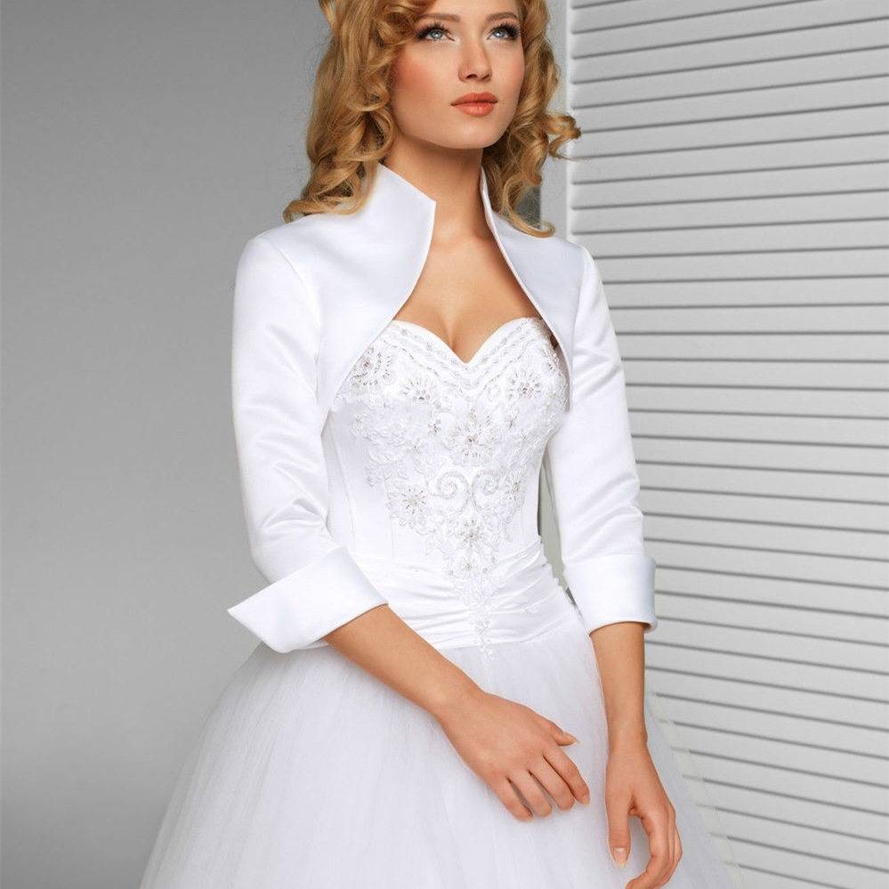 White Ivory 3/4 Sleeves Wedding Jacket New Satin Bolero Jackets For Evening Dresses Bridal Wraps Formal Wedding Accessories