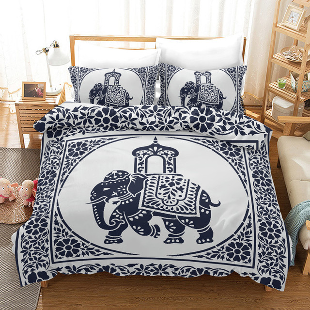 Fanaijia Elephant Bed Linen Mandala Bedding Se Luxury Bohemian Quilt Cover with Pillowcase Set