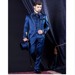 Image 3 - Classic Style Golden Embroidery Groom Tuxedos White Groomsmen Mens Wedding Prom Suits Blazer With Pants (Jacket+Pants+Vest)