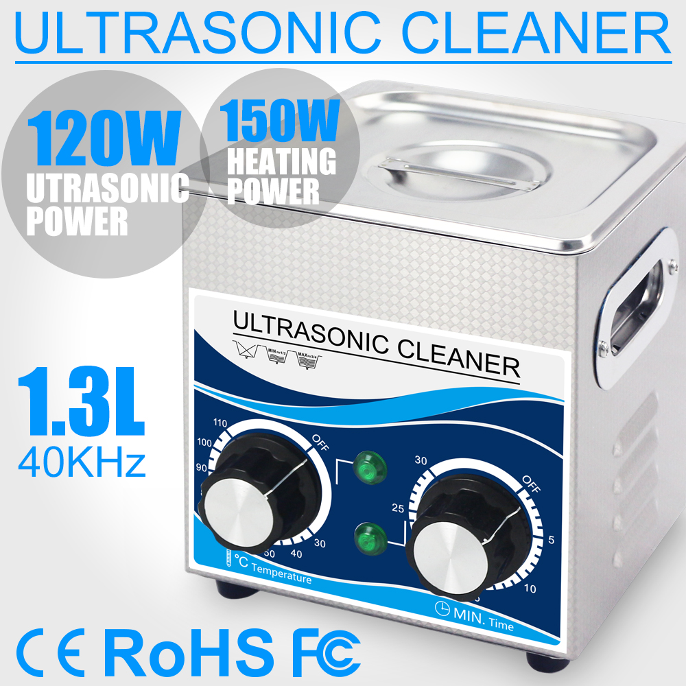 120W Ultrasonic Cleaner 1.3L Bath 0~30mins Timer With Heater  Ultrasound Cleaning For Watches Glasses Jewelry Home Parts