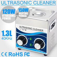 120W Ultrasonic Cleaner 1.3L Bath 0~30mins Timer with Heater  Ultrasound Cleaning for Watches Glasses Jewelry Home Parts stainless steel digital ultrasonic cleaner with timer and heater 7l including washing basket