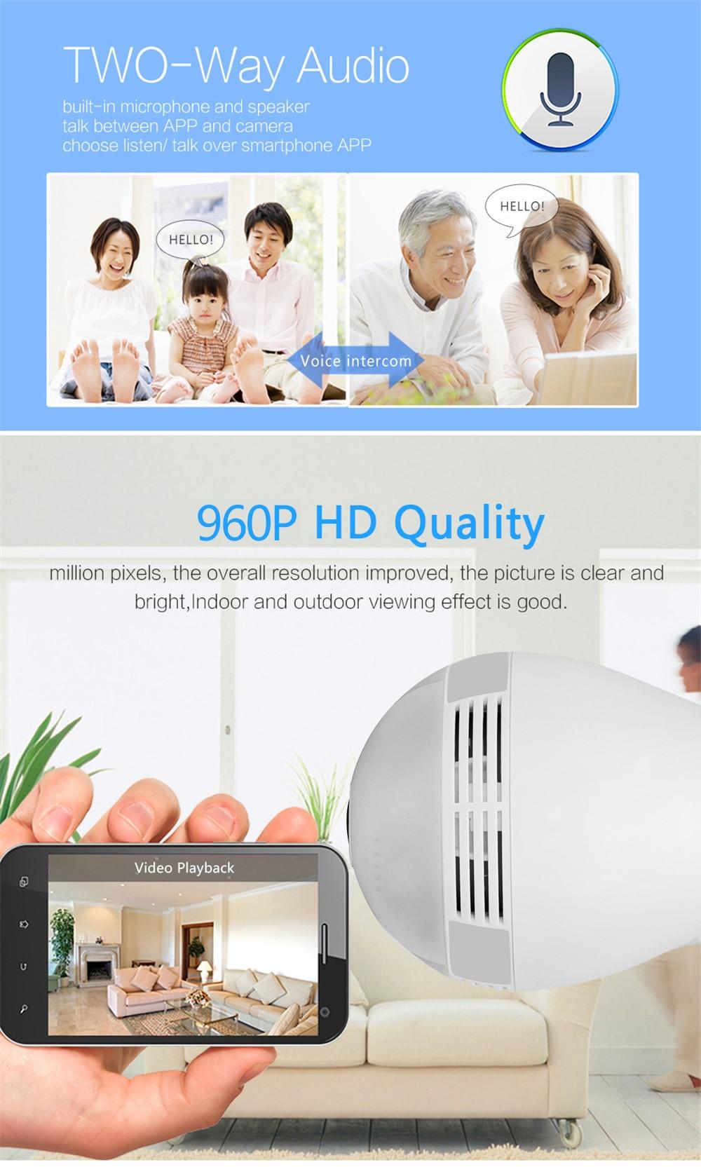 Wistino Wireless IP Camera Bulb Light WiFi 960P VR Panoramic FishEye Lamp Cameras CCTV Security Home Baby Monitor 360 Degree Night Vision (6)