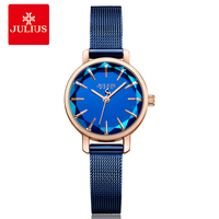 Julius Top Luxury Blue Mesh Band Irregular Sparkling Glass Slim Watches Women Simple Fashion Clock Ladies Dress Whatch JA 1063
