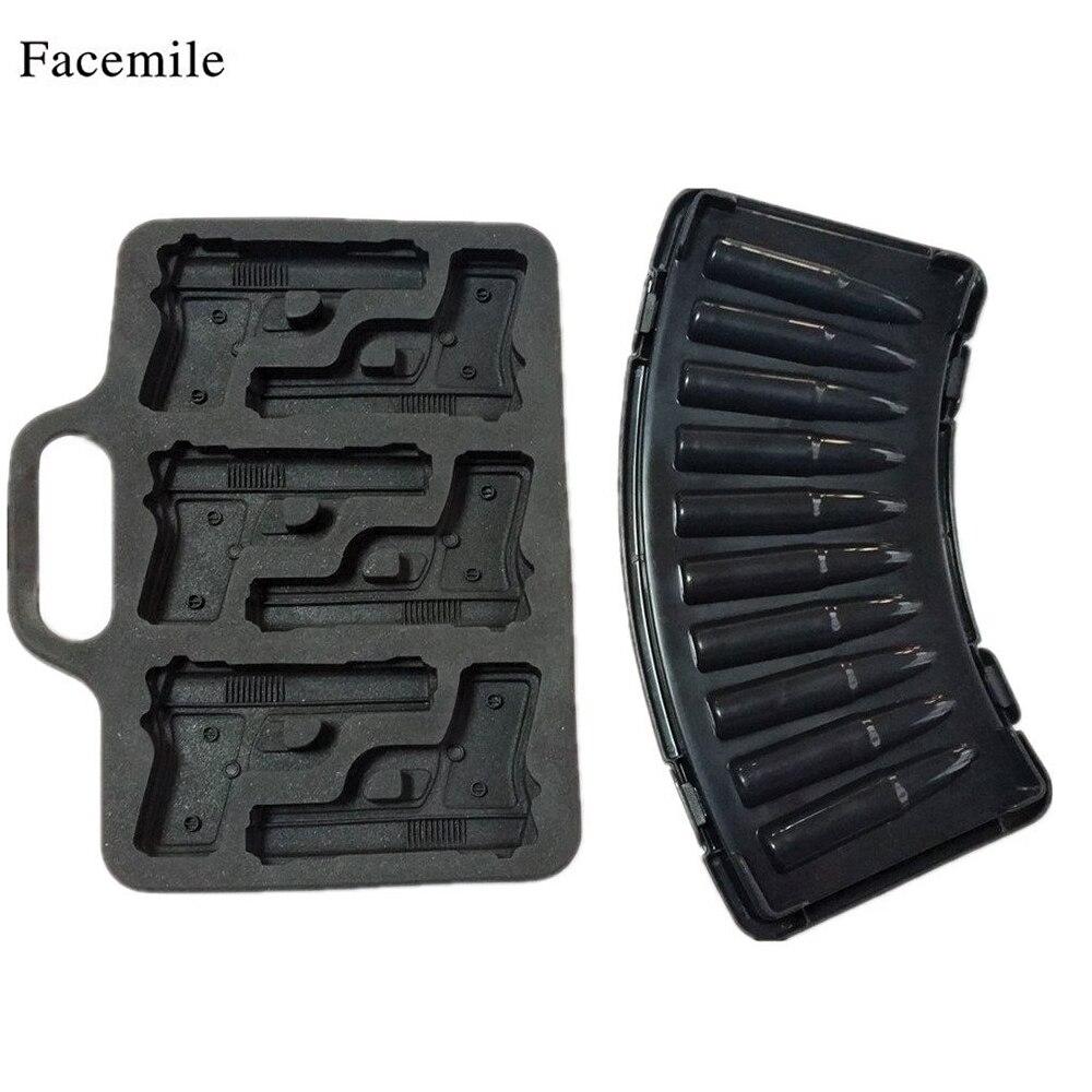 Combo 2 Molds, 1 AK47 Bullet 1 Pistol Gun Ice Cube Chocolate Soap Tray Mold Fondant Cake Decoration Party maker