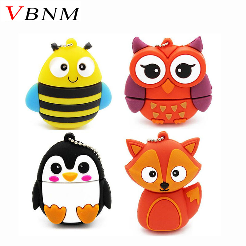 VBNM cute penguin owl fox pen drive cartoon usb flash drive pendrive 4GB/8GB/16GB/32GB U disk animal memory stick gift