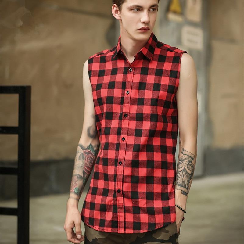 Men's Sleeveless Plaid Shirt Black/blue/red Vintage Urban Streetwear Hip Hop Side Zipper Tartan Shirts Male Plus Length Style