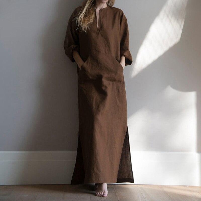 Women Vintage Maxi Long Dress 19 Celmia Summer Autumn Sexy V Neck Long Sleeve Split Casual Loose Linen Vestidos Kaftan S-5XL 10