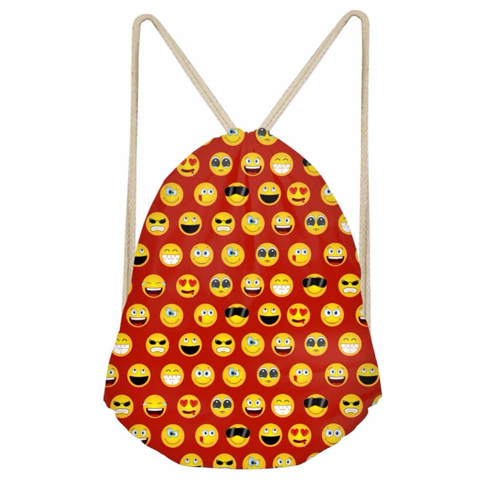 Забавные красочные печатные эмодзи мешки с Кулиской для девочек и мальчиков модные мягкие рюкзаки для хранения школьные студенческие спортивные сумки