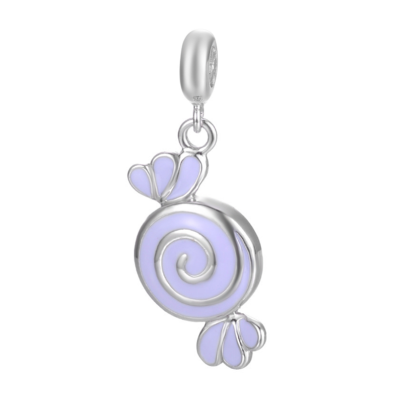 European Style Best Gift Sweet Candy Design Pendant Jewelry For Bracelet Or Necklace S925 Sterling Silver Charm