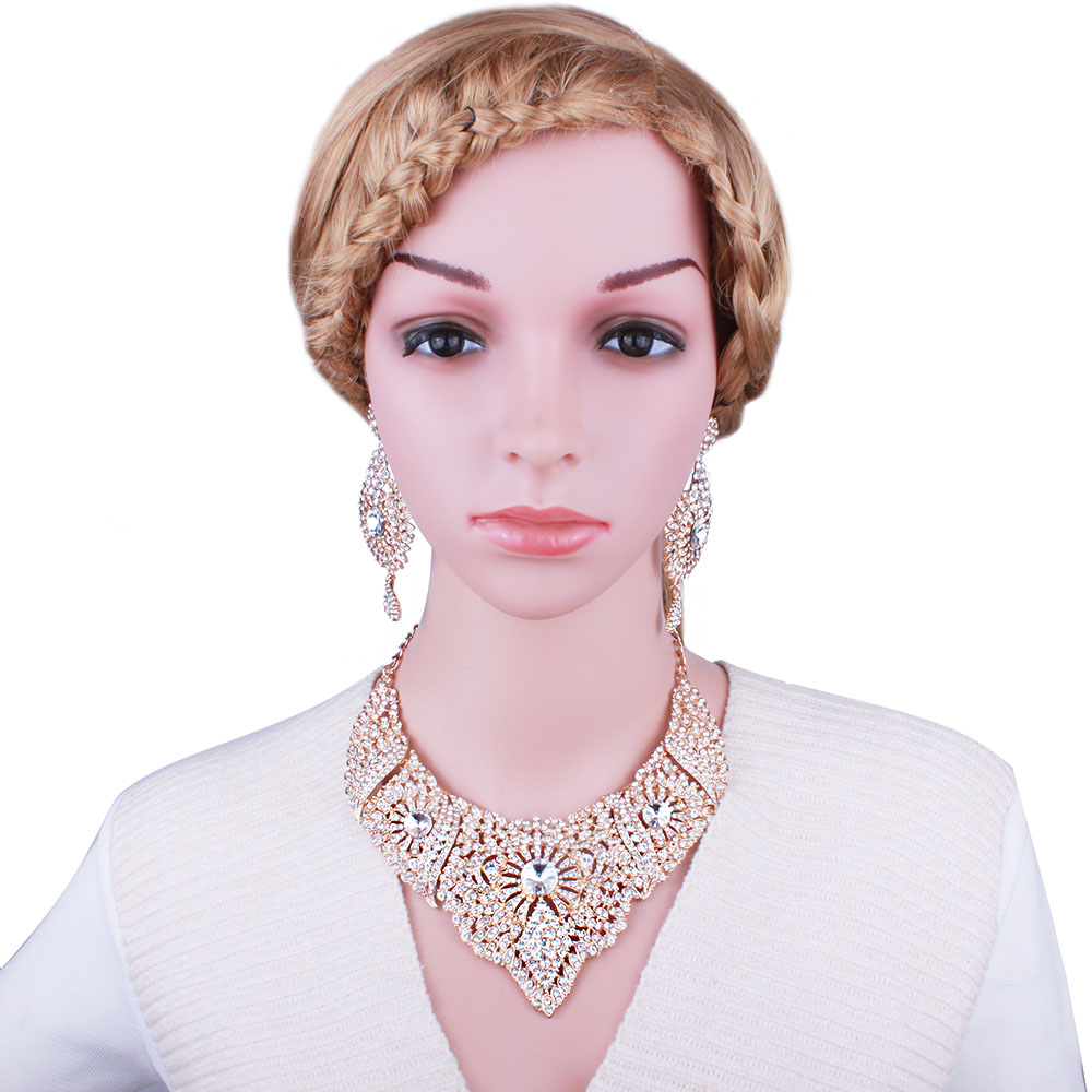 Купить с кэшбэком FARLENA Jewelry Full Clear Rhinestones Statement Necklace and Earrings for Women Indian Bridal Wedding Jewelry sets