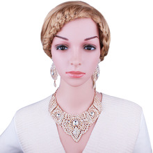 FARLENA Jewelry Full Clear Rhinestones Statement Necklace and Earrings for Women Indian Bridal Wedding Jewelry sets