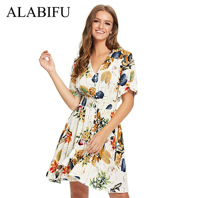 ALABIFU Vintage Sexy Short Bohemian Beach Dress 2019 Plus Size Summer Dress  Casual Elegant Print Floral 9999230e975f