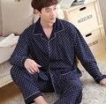 Мужские пижамы с длинным рукавом хлопок мужчины пижамы высокого класса лацкан сна топы плед печатных кардиган пижамы мужчин случайные пижамы наборы