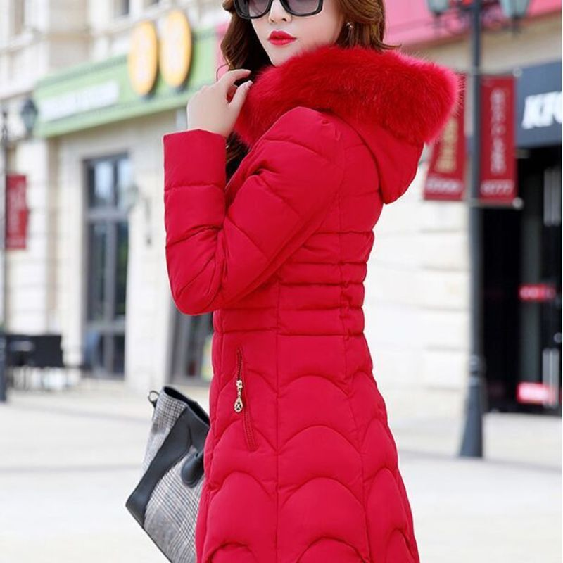 women's   parkas   coats fem me clothes 2019 jackets ladies plus large big size warm long hooded Cotton padded faked fur red fashion