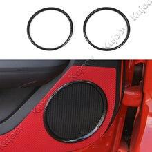 2Pcs Carbon Fiber Grain ABS Car Door Speaker Cover Trim Ring Sticker Decor Frame For Ford Mustang 2015 2016 2017