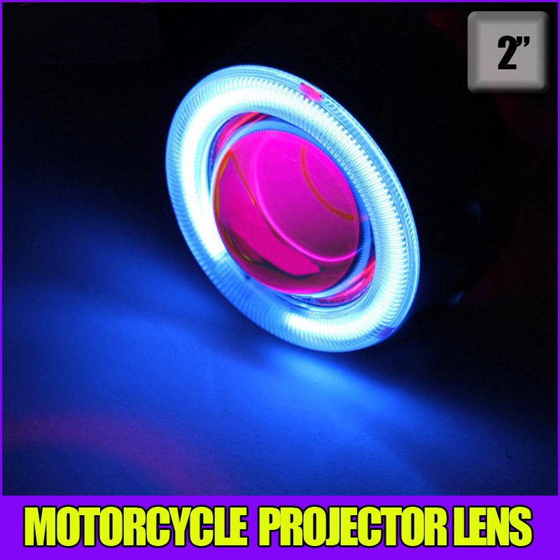 ФОТО Auto Motorcycle 35w 2 inch Hid Bixenon Projector Lens Headlight Kit 6000k 4300K Blue Green Red Yellow White CCFL Angel Eye