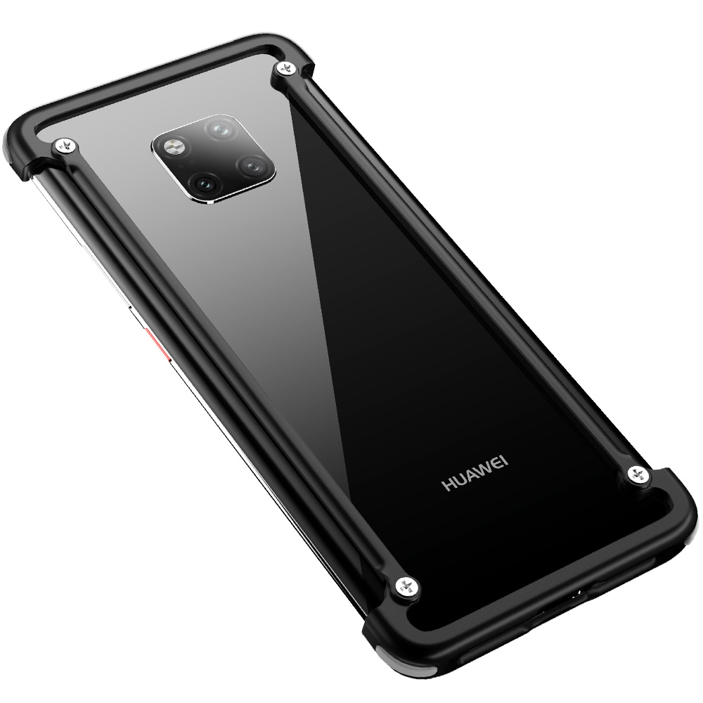 OATSBASF with Airbag Metal Frame shape phone Case For Huawei Mate 20 Pro 20 RS 20X 20 luxury phone bumper with back film gift in Phone Bumpers from Cellphones Telecommunications