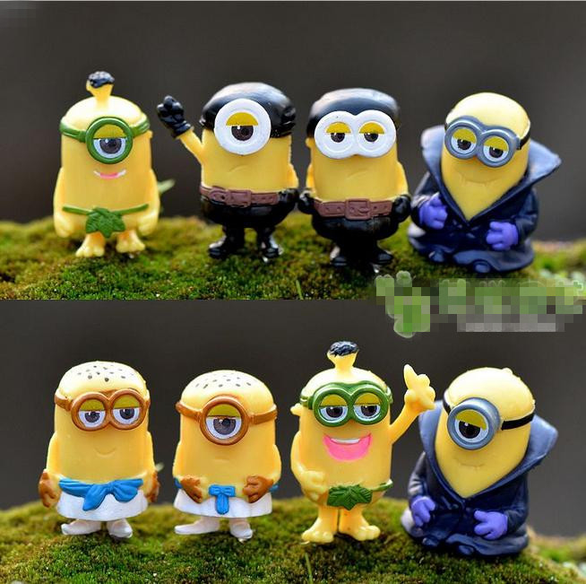 Sale 8pcs Minions Doll House Miniatures Lovely Cute Fairy Garden