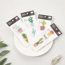 Купить с кэшбэком 4 pcs Cute Cactus magnetic bookmarks for book accessories Magnet paper clip folder Stationery gift Office School supplies A6163