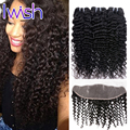 Iwish Brazilian Curly Weave Hair Lace Frontal Closure With Bundles Deep Wave Curly Brazilian Virgin Hair With Frontal Human Hair