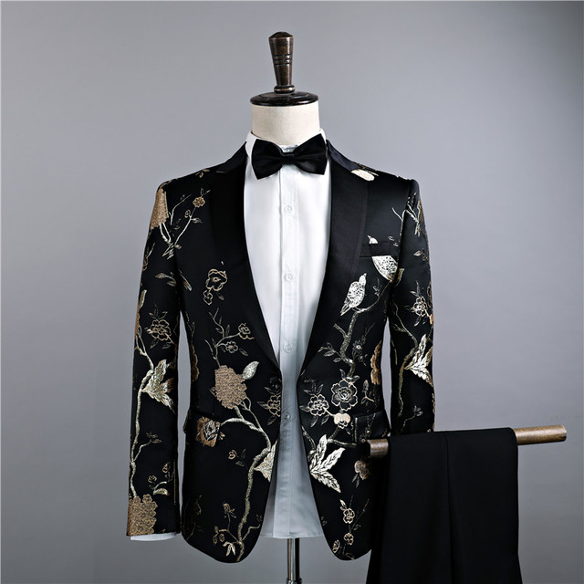 Fashion Brand Men's Suits Stitchwork Black Blazers Slim Male Tuxedos Prom Groom Wedding Formal Business Jacket+Pants 2 Piece