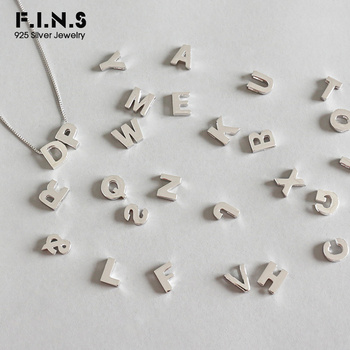 F.I.N.S S925 Sterling Silver Simple 26 English Alphabet Pendant without Chain Letter DIY Necklace for Lovers 925 Silver Jewelry