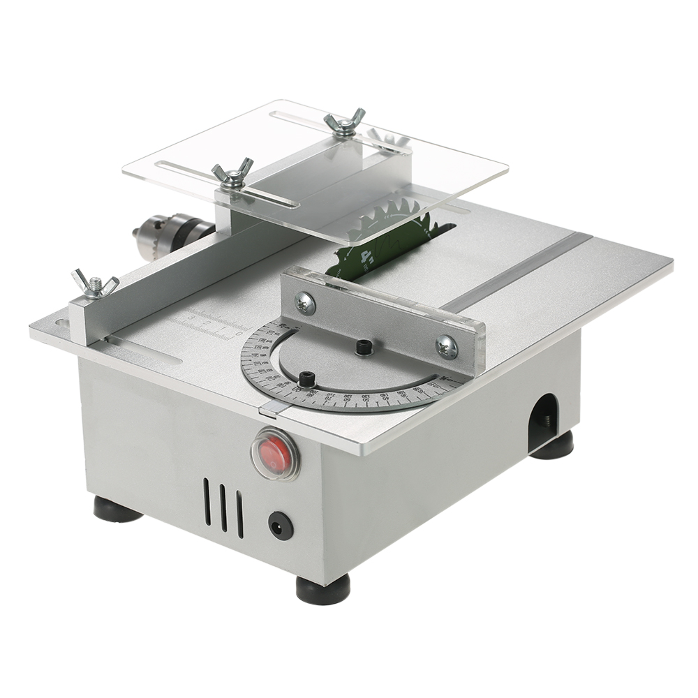 100W Mini Table Saw Aluminum Miniature DIY Woodworking Bench Saw  Carpentry Chainsaw Cutting Machine Precision Model Saws mini table saw multi function woodworking saw circular saw diy cutting machine for wood pcb