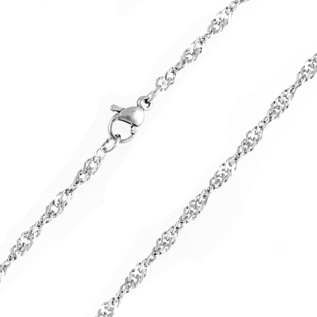 2 4mm Stainless Steel Waterwave Chain silver Singapore Twisted Curb  Necklace For Women Acero Inoxidable Cadenas Wholesale 10pcs-in Chain  Necklaces