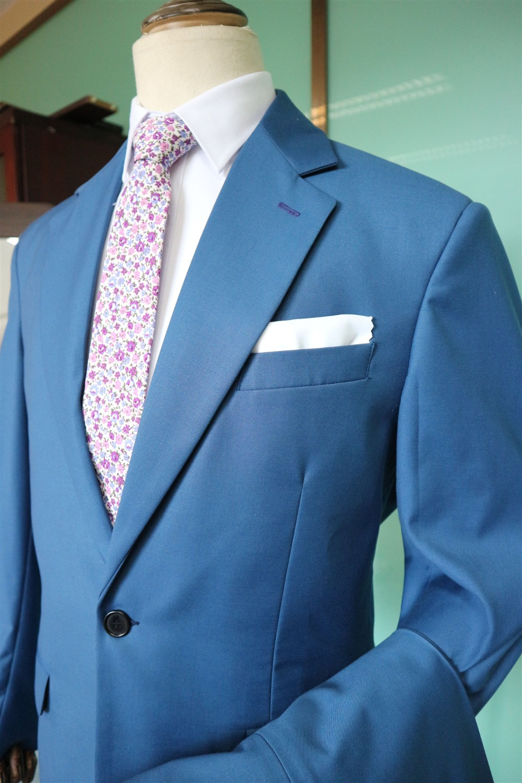 Blue One Button Peak Lapel Men's Slim Fit Business Suits Real Photo High Quality Men Suits Wedding Tuxedo Prom Suits Blazer Pant