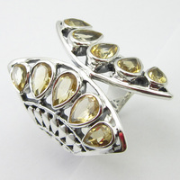 Silver Wholesale Jewelry Citrines November Birthstone Ring Sz 5.75 Unique Designed