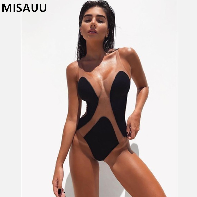 Sexy Deep V Neck Mesh Sheer Bodysuit Women Catsuit Sleeveless Summer   Jumpsuit   Backless Romper Body Mujer One Piece Overalls New