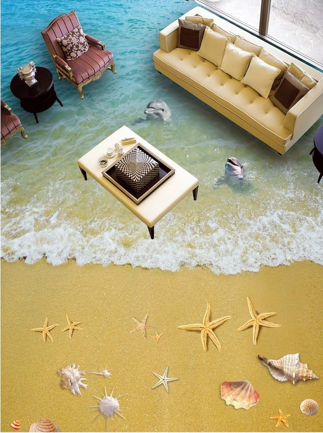 ФОТО 3 d flooring custom self adhesion Clear water sand waves starfish 3d bathroom flooring painting photo wallpaper for walls 3d