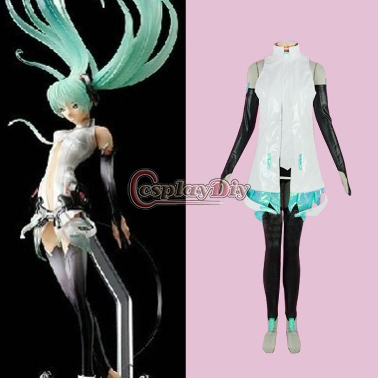 Cosplaydiy Free Shipping Custom Made Miku Vocaloid Append Cosplay Costume Anime Costume free shipping vocaloid hatsume miku short green anime cosplay wig 2 x ponytails