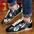 LIN KING Brand Men Casual Shoes Light Thick Soled Zapatillas Hombre Army Grass Green Cartoon Men Dress Shoes Lace Up Flats Shoes