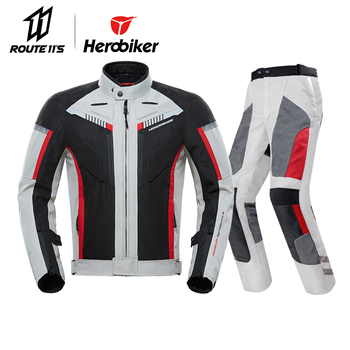 Herobiker Summer Motorcycle Jacket+Motorcycle Pants Motorcycle Racing Suit Protective Gear Armo Hip Protector Moto Clothing