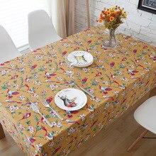 Parrot bird print linen tablecloths eco-friendly tea table cloth drape universal custom table cloth Home Decor bird print table cloth
