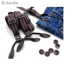 Men's Casual Suspenders Unisex Adjustable 2cm Width Adult Belts Strap Striped Six Button Holes Suspender Braces BDXJ216