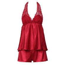 Sexy Lace Halter Backless Pajamas Set Women Spaghetti Strap Tops Short Set Faux Silk Nightwear Home Suit(China)