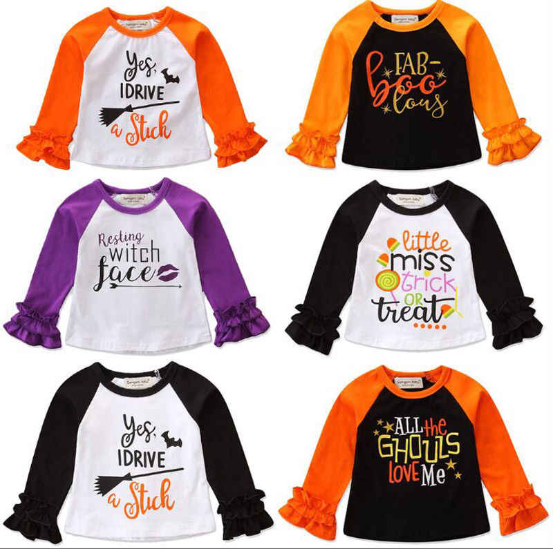 2018 New Halloween Toddler Kids Baby Girl Clothes Long Sleeve Letter Print Cotton T-shirt Tee Tops Clothes 6 Styles