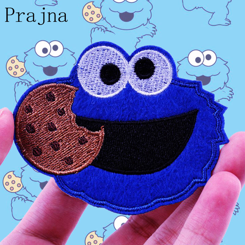 Prajna Cartoon Cute Sesame Street Patch ELMO COOKIE MONSTER Animal Ironing Patches Seal Embroidered Patches For Kids Clothes DIY