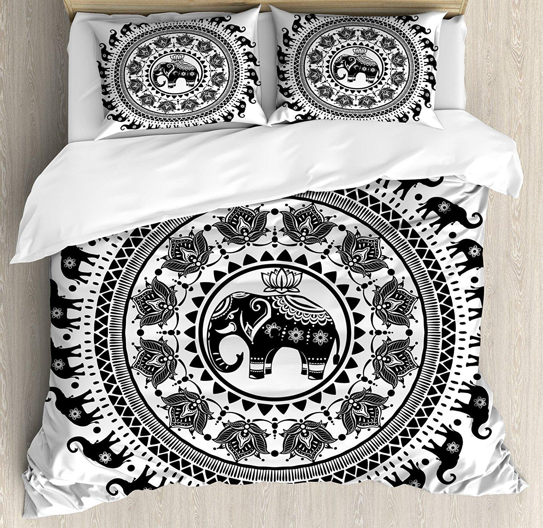 Elefante Mandala Capa de Edredão Set Sete Reais Símbolos e um guardião de Templos do Espírito Animal Círculo Cama Set Preto e branco