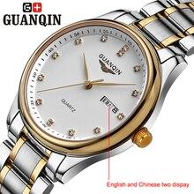Бренд GUANQIN мужские часы кварцевые часы мужчин кварцевые часы кристалл урожай бизнес эркек коль saati классический стали