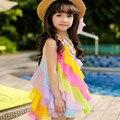 2016 Marca Summer Girls Beach Rainbow Realice Partido Sin Mangas de la Honda Del Vestido Hermoso Vestido de La Manera Muchacha Encantadora Gasa Vestido
